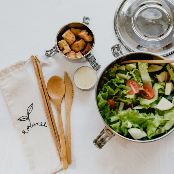 Take this Bamboo Utensil Kit on the go and ditch single use plastics! Comes in a travel friendly cotton pouch. Made from the most sustainable plant on Earth, compost at the end of its use. Shipped with plastic free shipping materials. Shop now at rplanetshop.com.