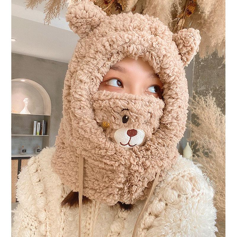Modakawa ACC. Bear Face Mask Ears Hat Head Warmer