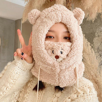 Modakawa ACC. Beige / 29 x 30 cm Bear Face Mask Ears Hat Head Warmer