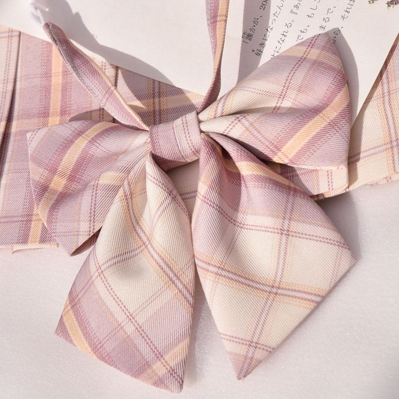 Modakawa ACC. Bowknot A / One Size Sweet School Plaid Pink Bowknot Tie Shirt Accessories