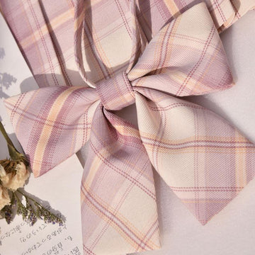 Modakawa ACC. Bowknot B / One Size Sweet School Plaid Pink Bowknot Tie Shirt Accessories