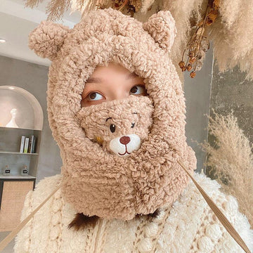 Modakawa ACC. Brown / 29 x 30 cm Bear Face Mask Ears Hat Head Warmer