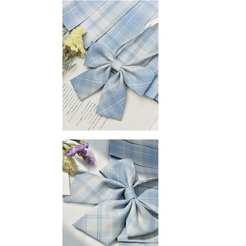 Modakawa ACC. Sweet School Plaid Bowknot Tie Shirt Accessories