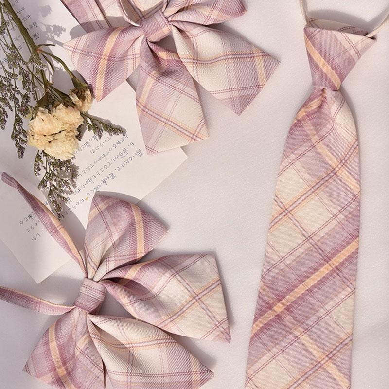 Modakawa ACC. Sweet School Plaid Pink Bowknot Tie Shirt Accessories