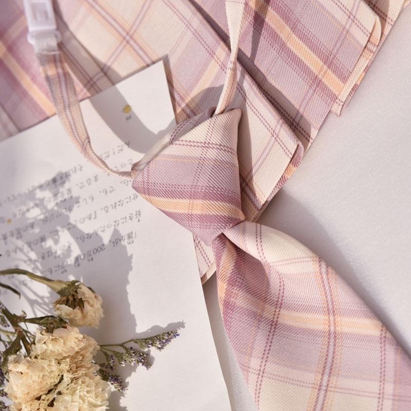 Modakawa ACC. Tie / One Size Sweet School Plaid Pink Bowknot Tie Shirt Accessories