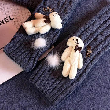 Modakawa Accessories Bear Cartoon Half Finger Gloves