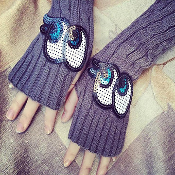 Modakawa Accessories Big Eyes / One Size Bear Cartoon Half Finger Gloves