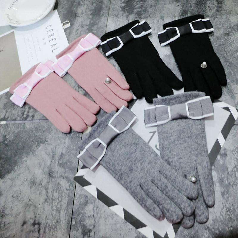 Modakawa Accessories Bow Ring Touchscreen Winter Gloves