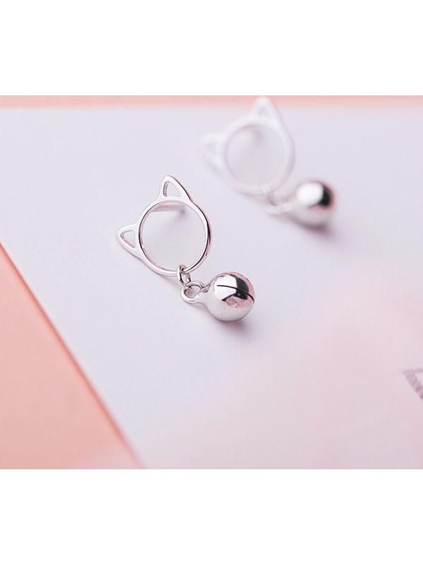 Modakawa Accessories Cat Bell Sterling Silver Stud Earrings