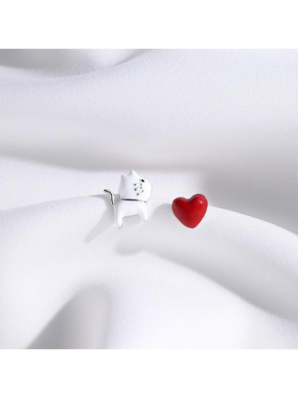 Modakawa Accessories Cat Love Heart Sterling Silver Stud Earrings