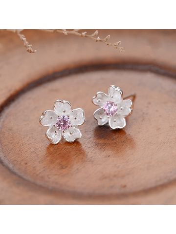 Modakawa Accessories Cherry Blossoms Sterling Silver Stud Earrings