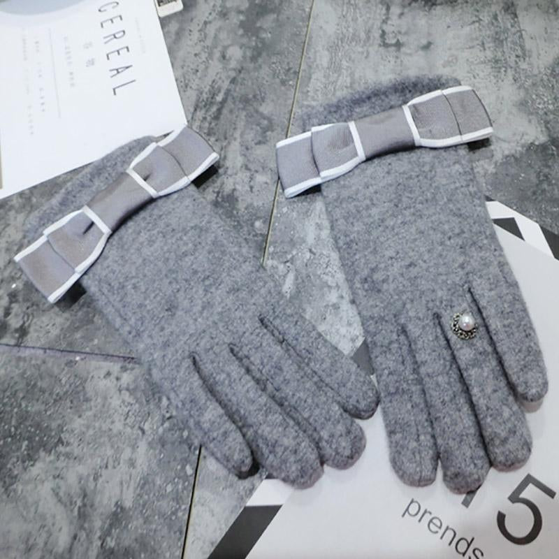 Modakawa Accessories Grey / One Size Bow Ring Touchscreen Winter Gloves