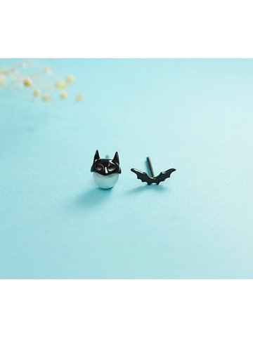 Modakawa Accessories Little Batman Sterling Silver Stud Earrings