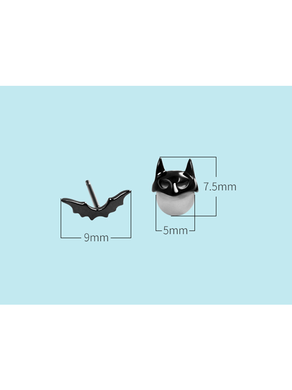 Bat 925 Sterling Silver Stud Earrings