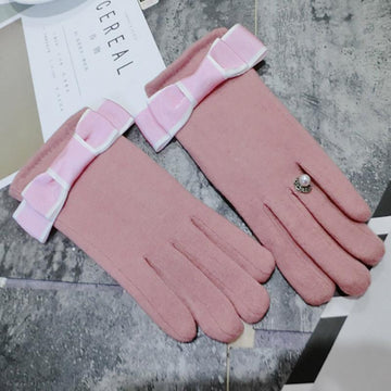 Modakawa Accessories Pink / One Size Bow Ring Touchscreen Winter Gloves