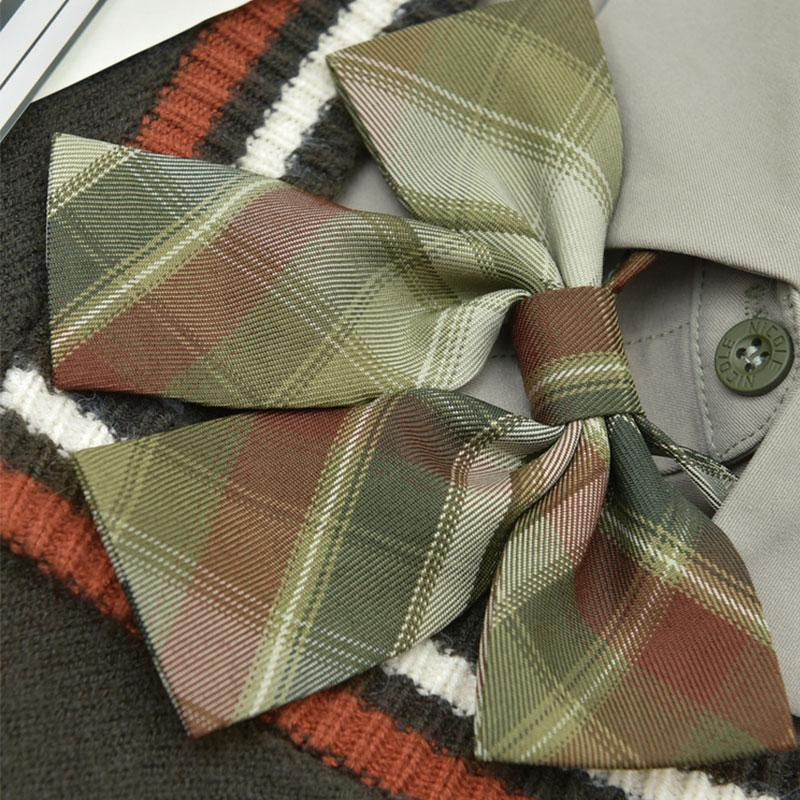 Modakawa Accessories Print Tie Plaid Bow Accessories