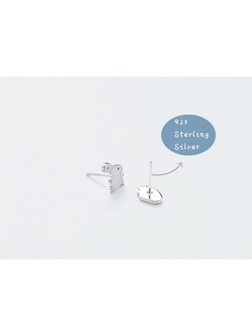 Modakawa Accessories Rabbit Carrot 925 Sterling Silver Stud Earrings