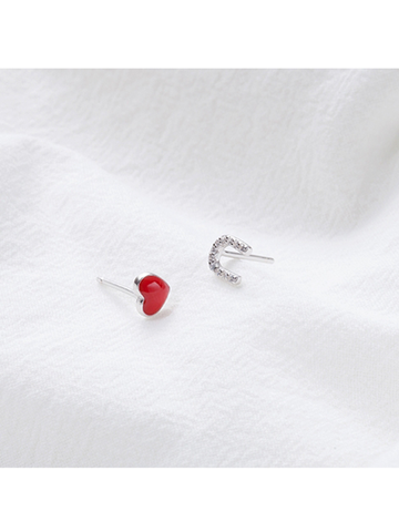 "Modakawa Accessories Red Heart ""U"" Letter 925 Sterling Silver Stud Earrings"