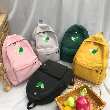 Modakawa Backpack Avocado Embroidery Backpack Mori Girl Casual