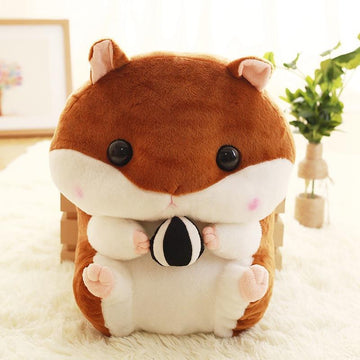 Modakawa Backpack Brown Cartoon Capacity Stuffed Hamsters Fuzzy Doll Backpack