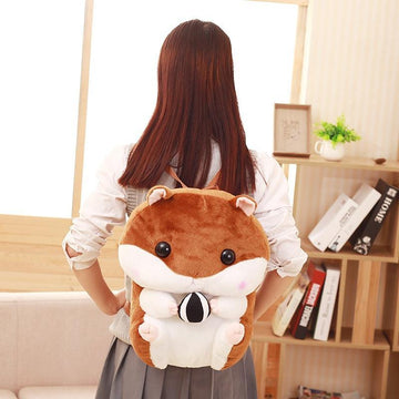 Modakawa Backpack Cartoon Capacity Stuffed Hamsters Fuzzy Doll Backpack