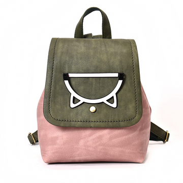 Modakawa Backpack Cat Ear Candy Color Block Backpack