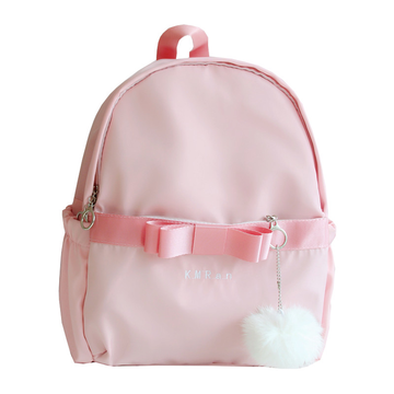 Modakawa Backpack Fuzzy Ball Bow Strap Backpack