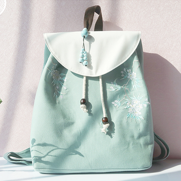 Modakawa Backpack Green+White Vintage Flower Embroidery Backpack