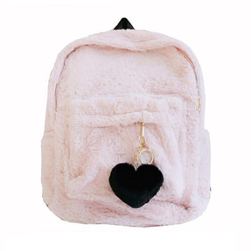Modakawa Backpack Heart Pendant Furry School Bag