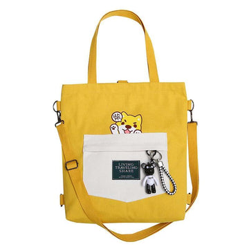 Modakawa Backpack LIVING TRAVELING SHARE Letter Print Japanese Kawaii Dog Canvas Backpack