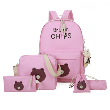 Modakawa Backpack Pink Bear Canvas Travel Backpack 5 Pieces Set