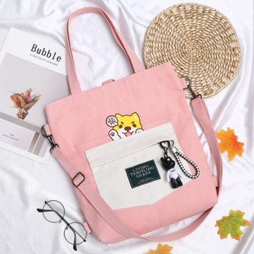 Modakawa Backpack Pink LIVING TRAVELING SHARE Letter Print Japanese Kawaii Dog Canvas Backpack