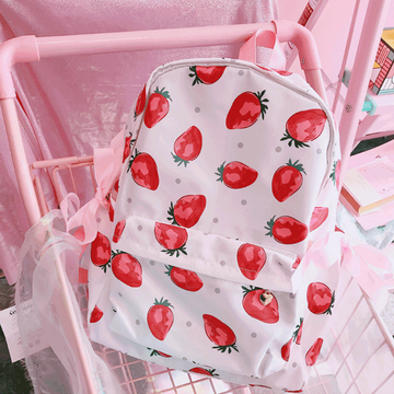 Modakawa Backpack Strawberry Lace Up Backpack