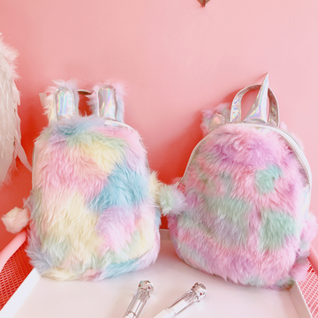 Modakawa Backpack Unicorn Bunny Colorful Plush Backpack