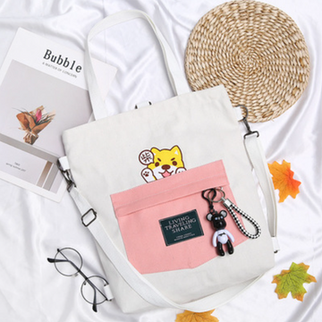 Modakawa Backpack White LIVING TRAVELING SHARE Letter Print Japanese Kawaii Dog Canvas Backpack