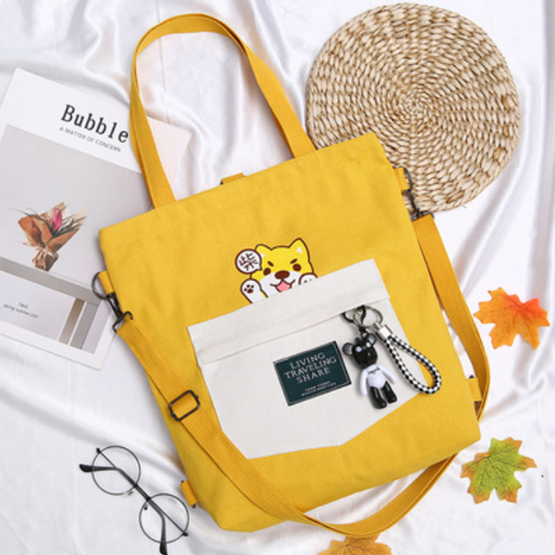 Modakawa Backpack Yellow LIVING TRAVELING SHARE Letter Print Japanese Kawaii Dog Canvas Backpack