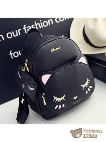 Modakawa Bag Balck Cat Embroidery Backpack