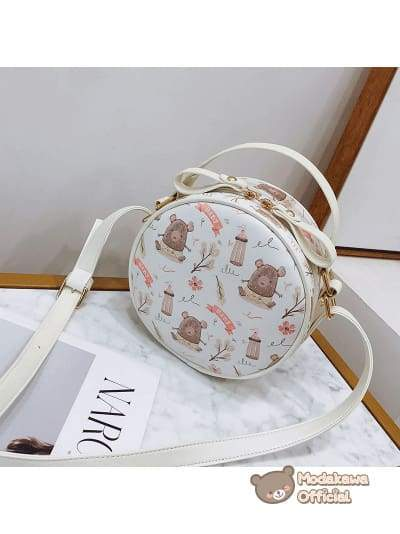 Modakawa Bag Bear Swan Round Crossbody Bag