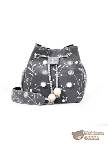 Modakawa Bag Black Cotton Branches Crossbody Bag