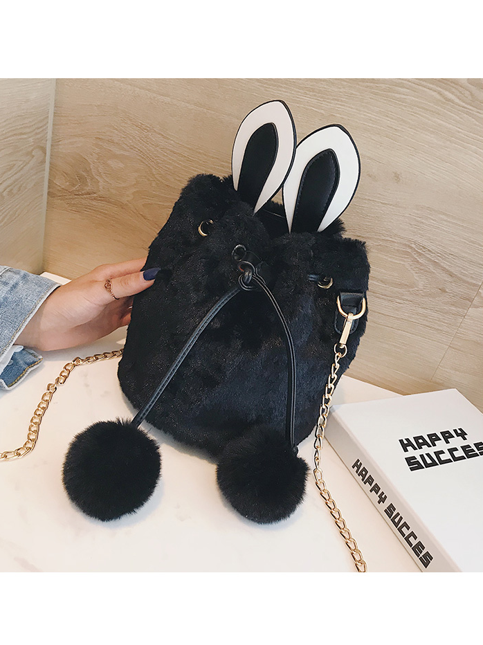 Modakawa Bag Black Furry Bunny Bucket Bag