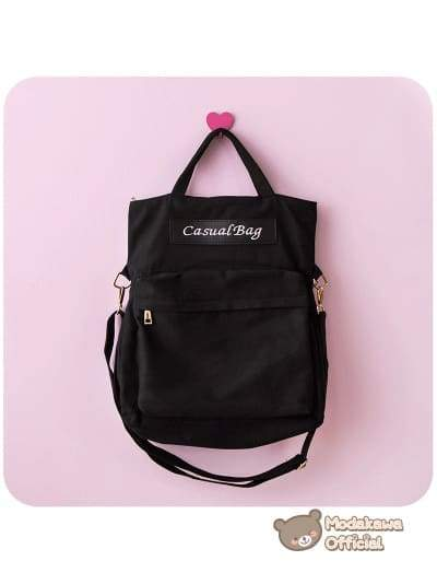 Modakawa Bag Black Harajuku Multi-Function Backpack