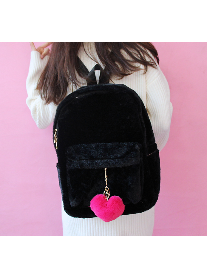 Modakawa Bag Black Heart Pendant Furry School Bag