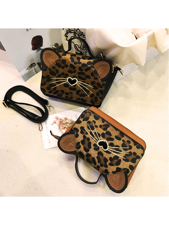 Modakawa Bag Black Leopard Print Crossbody Bag
