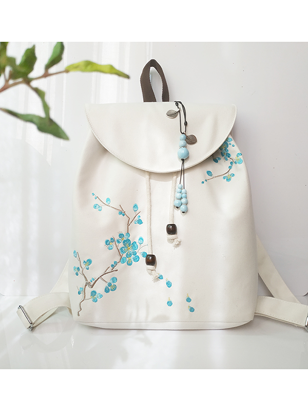Modakawa Bag Blue Flower Vintage Plant Embroidery Backpack