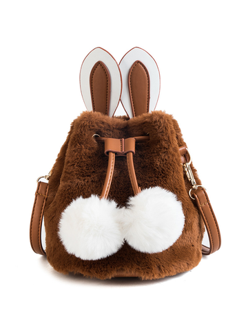 Modakawa Bag Brown Kawaii Furry Bunny Bucket Bag