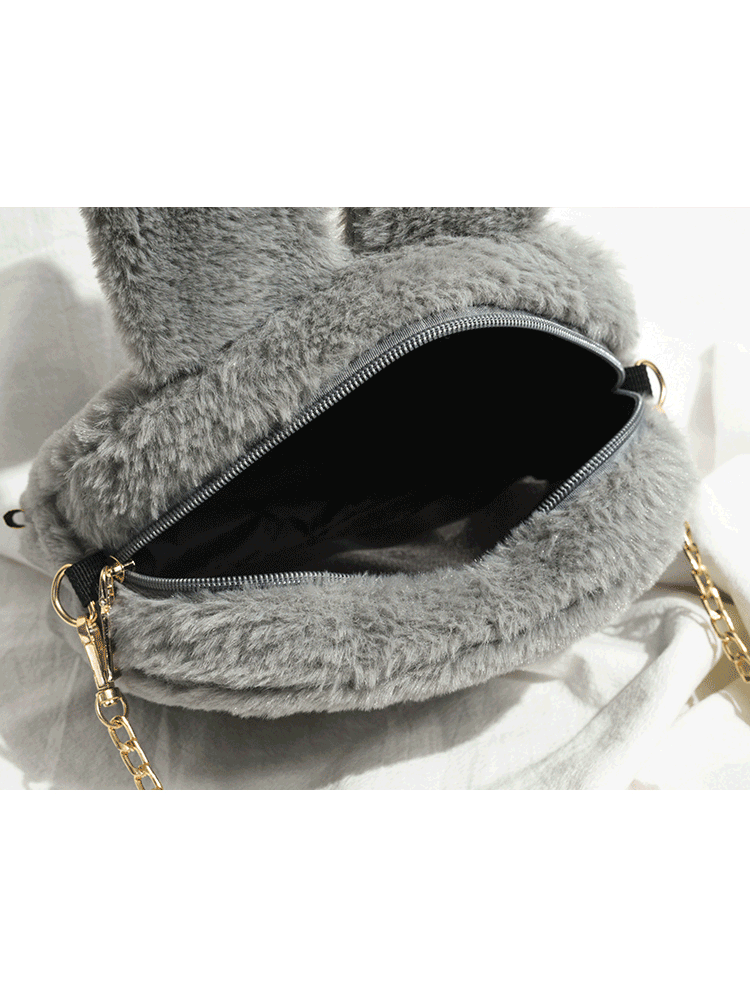 Modakawa Bag Bunny Rabbit Soft Plush Chain Zipper Crossbody Bag
