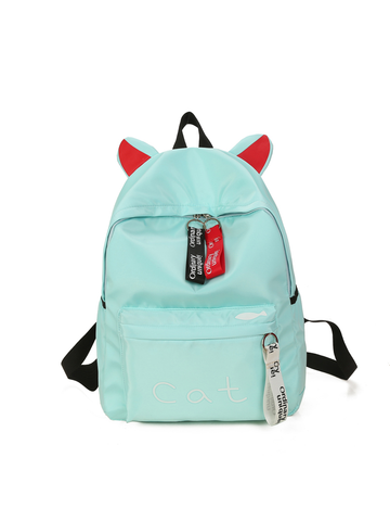 Modakawa Bag Green Cat Ears Canvas Backpack