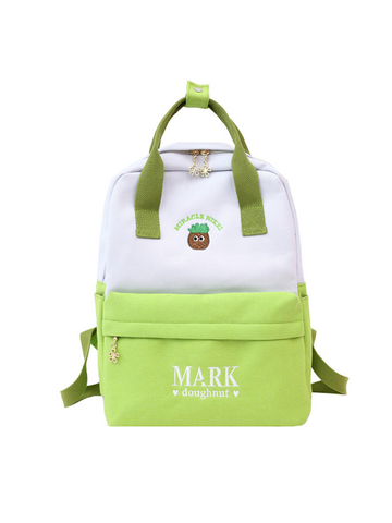 Modakawa Bag Green Cute Cartoon Embroidery Backpack