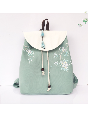 Modakawa Bag Green Vintage Plant Embroidery Backpack