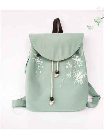 Modakawa Bag Green+White Vintage Flower Embroidery Backpack